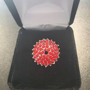 Jewelry - Red Crystal Cluster Sterling Silver Ring size 7